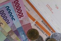 Draufsicht/flache Lage der Illustration für das Ausgeben des Geldes für Feiertag stockbilder