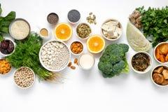Draufsicht gesunden Essens des Lebensmittels der Kalziumvegetarier sauberen lizenzfreie stockfotografie