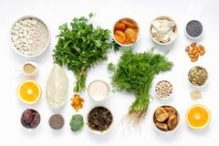 Draufsicht gesunden Essens des Lebensmittels der Kalziumvegetarier sauberen lizenzfreie stockbilder