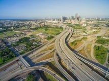 Draufsicht Houston im Stadtzentrum gelegene und zwischenstaatliche Landstraße 69 stockfotografie