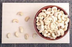 Draufsicht köstlichen und gesunden rohen Acajounüsse Lizenzfreies Stockbild