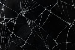 Draufsicht knackte Glasbeschaffenheitshintergrund des defekten mobilen Schirmes Stockfoto
