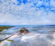 Draufsicht Mont Saint Michel Bays, Normandie Frankreich stockfotos