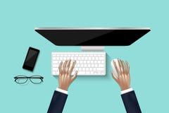Draufsicht/Unkosten der Geschäftsfrau arbeitend an Personal-Computer im Büro, Vektor, Illustrationsentwurf stock abbildung