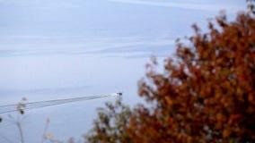 Draufsicht vom Berg zu einem breiten Fluss mit blauem Wasser und einem Motorschiff Dnister ukraine stock video footage