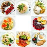 Draufsicht von acht verschiedenen Restauranttellern Lizenzfreie Stockfotografie