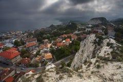 Draufsicht von Balchik-Stadt, Küste des Schwarzen Meers, Varna Region Stockfoto