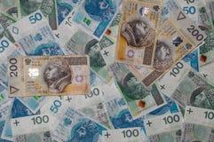 Draufsicht von Banknoten des Polnischen 50, 100 und 200 Polnischer Zloty 50PLN, 100PLN, 200 PLN Stockfotografie