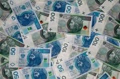 Draufsicht von Banknoten des Polnischen 50 und 100 Polnischer Zloty 50PLN und 100PLN Stockbilder