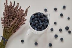 Draufsicht von bluberries und von Lavendel auf Weiß lizenzfreie stockfotografie