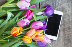 Draufsicht von bunten Tulpen und von Handy Lizenzfreies Stockfoto