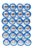 Draufsicht von den elektrischen Batterien des Satzes AA lokalisiert Stockbild