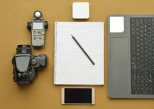 Draufsicht von den Fotografen Tischplatten Lizenzfreies Stockbild