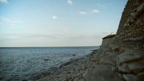 Draufsicht von den Seeblau-Wellen, die Küstenlinien-Klippe zerschmettern stock video