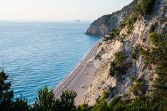 Draufsicht von Egremni-Strand Lizenzfreie Stockfotos