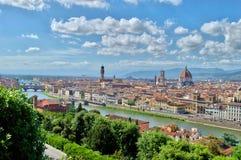 Draufsicht von Firenze, der Arno, ponte vecchio stockfotografie