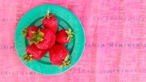 Draufsicht von frischen Erdbeeren Lizenzfreie Stockbilder