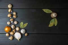 Draufsicht von frischen Pilzen und von Zwiebel mit einem Lorbeerblatt auf dunklem wo Stockbilder