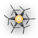 Draufsicht von hexacopter mit Kohlenstofffaserabdeckung stock abbildung