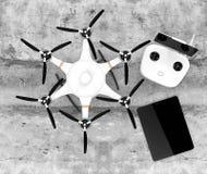 Draufsicht von hexacopter, von Fernprüfer und von Tablet-PC vektor abbildung