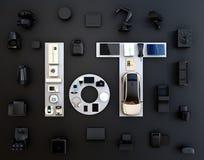 Draufsicht von intelligenten Geräten auf schwarzem Hintergrund Lizenzfreie Stockfotografie