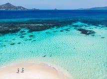 Draufsicht von Karibikinsel stockbild