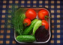 Draufsicht von Salat Veggie ist Frühstück für gesundes, Tomaten, Gurke Lizenzfreies Stockbild
