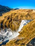 Draufsicht von Skogafoss in Island Lizenzfreie Stockfotos