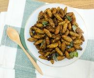 Draufsicht von tiefem Fried Coconut Worms auf Teller Stockbilder