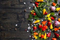 Draufsicht von trockenen und roten Pfeffern, Seesalz, unterschiedliches Grün Stockbilder