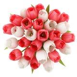 Draufsicht von Tulpen im Krug lokalisiert auf Weiß lizenzfreie abbildung