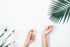 Draufsicht von weiblichen Händen mit rosa Maniküre Stockfotos