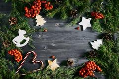Draufsicht von Weihnachtsspielwaren Stockfoto