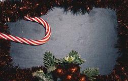 Draufsicht Weihnachtsrahmen-Kopienraum Stockfotos