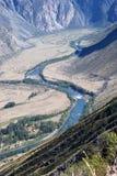 Draufsicht zum River Valley stockbild