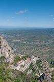 Draufsicht zur Montserrat-Abtei, Spanien Lizenzfreies Stockbild
