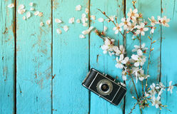 Draufsichtbild Blütenbaums des Frühlinges des weißen Kirschnahe bei alter Kamera auf blauem Holztisch Lizenzfreie Stockfotografie
