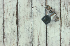 Draufsichtbild der alten Kamera der Weinlese Stockfoto