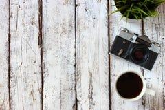 Draufsichtbild der alten Kamera der Weinlese Stockbild