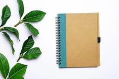 Draufsichtbild des braunen Buches mit Leerseiten auf weißem Schreibtisch, der wurde durch Blätter eines Weinleseart-Grüns umfasst Lizenzfreie Stockbilder