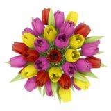 Draufsichtblumenstrauß von Tulpen im Vase lokalisiert auf Weiß vektor abbildung