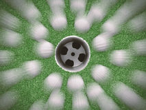 Draufsichtgolfbälle mit leerer Golfschale Stockbilder