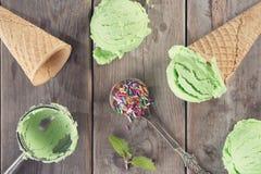Draufsichtgrün-Eiscreme Lizenzfreie Stockbilder