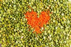 Draufsichthintergrund in der Liebe mit gesunder Ernährung Lizenzfreie Stockbilder