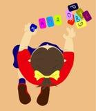 Draufsichtillustration eines Spielens scherzt Mädchen spielt Karten mit Buchstaben vektor abbildung