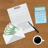 Draufsichtkonzept der Gehaltssteuer lizenzfreie abbildung