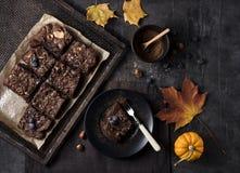 Draufsichtnachtischs des Fotos der Schokoladenschokoladenkuchenbeeren selbst gemachter Bäckereikürbis des dunklen rustikalen lizenzfreie stockbilder
