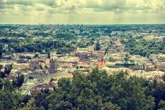 Draufsichtpanorama Stadt Lembergs, Ukraine altes Stockbild