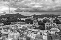 Draufsichtpanorama Stadt Lembergs, Ukraine altes Stockfoto