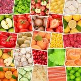 Draufsichtsammlung des Obst- und Gemüse Hintergrundes quadrieren appl Stockbilder